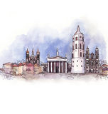 The panoramic view of Vilnius   watercolor Royalty Free Stock Photo
