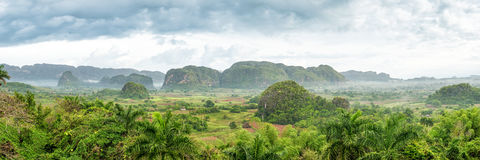 Panoramic view of the Vinales Valley in Cuba Royalty Free Stock Images