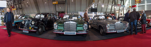 Panoramic view of the vintage models of Mercedes-Benz cars. Stock Photography