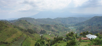 Panoramic view in the Virunga Mountains. Aerial view around the Virunga Mountains in Uganda (Africa Royalty Free Stock Images