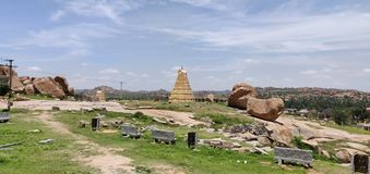 The Virupaksha Temple at Hampi. A panoramic view of Virupaksha Temple at Hampi showing the gopurams of the temple royalty free stock image