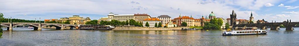 Panoramic view on Vltava in Prague, Czech Repubic Royalty Free Stock Photo