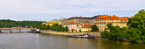 Panoramic view on Vltava in Prague, Czech Repubic royalty free stock photo
