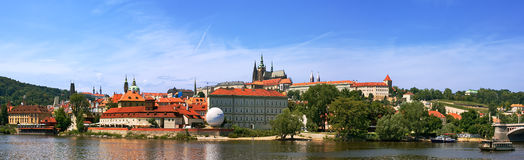 Panoramic view on Vltava river and Prague Castle. Stock Images