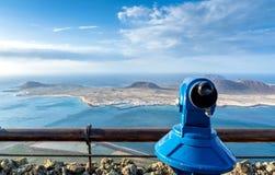 Volcanic coastline and Isla Graciosa view from Mirador del Rio, Lanzarote Stock Photography