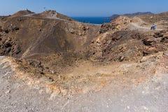 Panoramic view of volcano in Nea Kameni island near Santorini, Greece Stock Photos