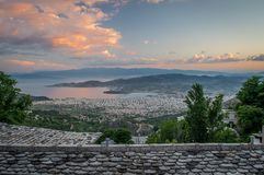 Panoramic view on Volos during sunset from vilage Makrinitsa on Pelion Mountain royalty free stock photos