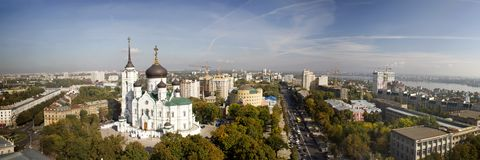 Panoramic view of Voronezh city Stock Photos