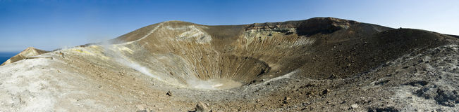 Panoramic view of a Vulcan crater Royalty Free Stock Photo