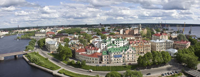 Panoramic view on Vyborg. View to Vyborg town from the St. Olaf's tower Royalty Free Stock Images