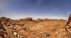 Panoramic view of Wadi Musa from Petra. Under clear blue skies Royalty Free Stock Image