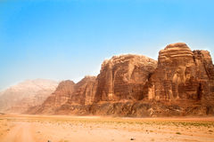 Panoramic view on Wadi Rum desert Royalty Free Stock Photography