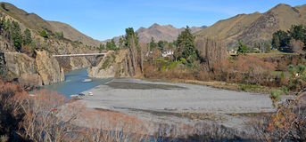 Panoramic view of the Waiau River and Bridge in Winter Royalty Free Stock Photos