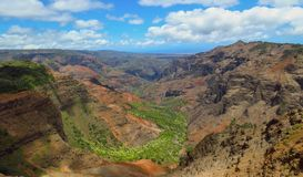 Panoramic view of Waimea Canyon and valley, aka the Grand Canyon of the Pacific, Kauai, Hawaii, USA stock photo