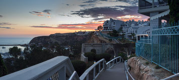 Panoramic view of walk overlooking the harbor in Dana Point royalty free stock photos