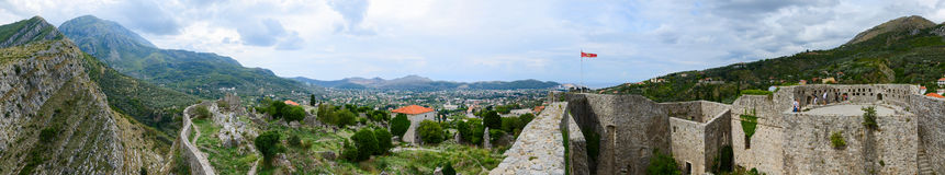 Panoramic view of walls of ancient fortress in Old Bar and New B Royalty Free Stock Images