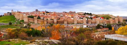 Panoramic view of the Walls of Avila Stock Images