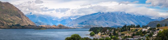 Panoramic View of Wanaka, New Zealand Stock Image