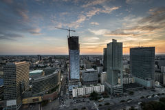 Panoramic view of Warsaw city during sundown. Stock Image