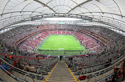 Panoramic view of Warsaw National Stadium. WARSAW, POLAND - MAY 27, 2015: Panoramic view of Warsaw National Stadium (Stadion Narodowy) during UEFA Europa League royalty free stock image