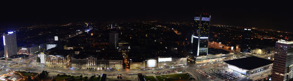 Panoramic view on Warsaw by night, Poland. Main streets, city center Royalty Free Stock Photo
