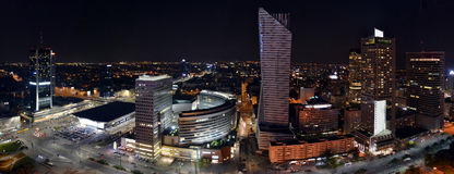Panoramic view on Warsaw by night, Poland Royalty Free Stock Images