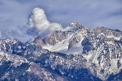 Panoramic view of Wasatch Front Rocky Mountain, highlighting Lone Peak and Thunder Mountain from the Great Salt Lake Valley in ear. Ly spring with melting snow Royalty Free Stock Photography