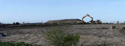 Panoramic view of waste ground reclamation Stock Image