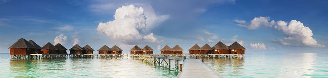 Panoramic view on water villas Stock Photos