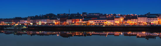 Panoramic view of Waterford, Ireland at night. WATERFORD, IRELAND - NOVEMBER 29, 2014: Panoramic view of a cityscape at night with illumination. It is the oldest Royalty Free Stock Images
