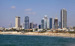 Panoramic view from waterfront of Tel Aviv-Yafo and Mediterranea royalty free stock photo