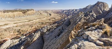 Strike Valley Upheaval. Panoramic view of the Waterpocket Fold from the Strike Valley Overlook in Capitol Reef National Park, Utah stock photos