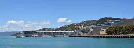 Panoramic view of Wellington Harbour, Oriental Bay and Clyde Qua Royalty Free Stock Image