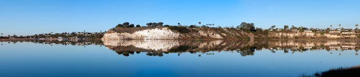 Panoramic view of the west cliffs on the back bay in Newport Beach California Royalty Free Stock Image