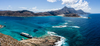 Panoramic view of the west coast of Crete from the height of the rocky island Imeri Gramvousa. Royalty Free Stock Images
