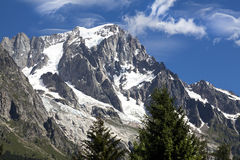 Panoramic view of Western Alps.Italian side Mont Blanc summer landscape. Mont Blanc is the highest peak of european Western Alps. Royalty Free Stock Photo