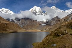 Panoramic View from the western end of Lagona Carhuacocha to Mount Yerupaja, Andes Mountains, Peru stock photography