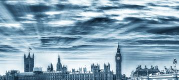 Panoramic view of Westminster Palace, Houses of Parliament - Lon. Don, UK Royalty Free Stock Photography