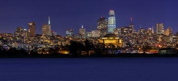 San Francisco panorama with Palace of Fine Arts and Salesforce T Royalty Free Stock Images