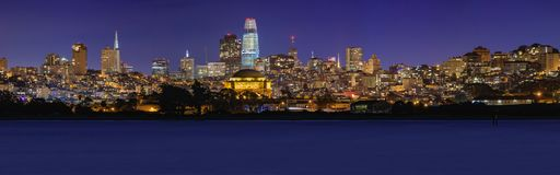 San Francisco panorama with Palace of Fine Arts and Salesforce T Royalty Free Stock Photos