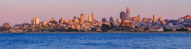 San Francisco panorama with Palace of Fine Arts and Salesforce T Stock Image