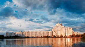Panoramic View of White Building In Old Part Minsk Royalty Free Stock Photography