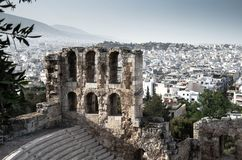 Panoramic view of white buildings city districts, Athens, Greece stock image