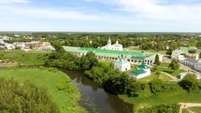 Panoramic view of white church in Suzdal, Russia. Panoramic view of white church in Suzdal. Golden tour trip in Russia stock footage