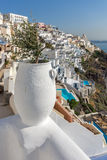 Panoramic view of White houses in Fira, Santorini island, Thira, Greece Stock Images