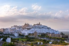 Panoramic view of the white and old city of Ostuni royalty free stock image