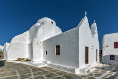 Panoramic view of White orthodox church in Mykonos, Greece Royalty Free Stock Images