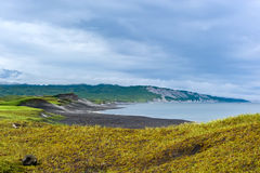 Panoramic view of white pumice rocks. Iturup. Royalty Free Stock Images