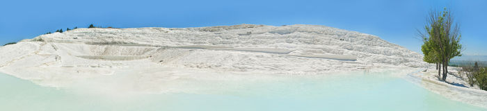Panoramic view of white travertine terraces in Pamukkale Royalty Free Stock Photography