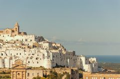 Panoramic view of the white village of Ostuni in Salento on the Adriatic sea. Salento is famous for its white villages and its seacoast with many wonderful stock photography
